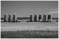 Oil tanks. North Dakota, USA ( black and white)