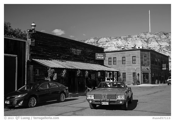 Classic car in street, Medora. North Dakota, USA (black and white)