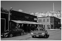Classic car in street, Medora. North Dakota, USA ( black and white)