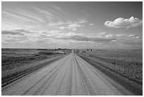 Gravel road in open prairie. North Dakota, USA ( black and white)