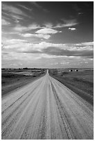 Gravel road. North Dakota, USA ( black and white)
