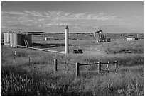 Jack pump. North Dakota, USA ( black and white)