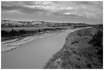 Little Missouri River. North Dakota, USA ( black and white)