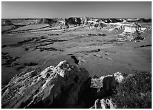 South Bluff seen from Scotts Bluff, early morming. Scotts Bluff National Monument. South Dakota, USA ( black and white)