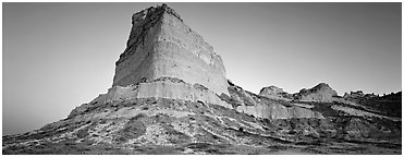 Scott's bluff at dawn,  Scotts Bluff National Monument. South Dakota, USA (Panoramic black and white)