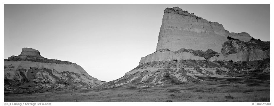 Cliffs glowing red at dawn,  Scotts Bluff National Monument. Nebraska, USA (black and white)