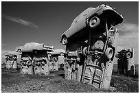 Standing trilithons, Carhenge. Alliance, Nebraska, USA ( black and white)