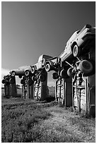 Car sculpture, Carhenge. Alliance, Nebraska, USA ( black and white)