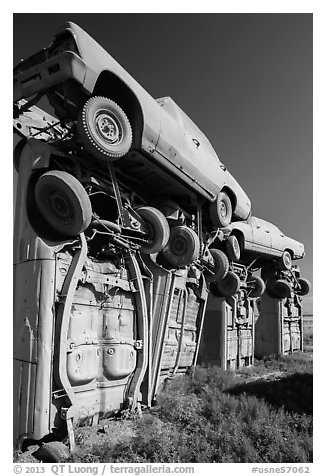 Carhenge Artwork made of scrapped cars. Alliance, Nebraska, USA (black and white)