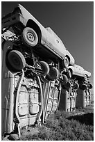 Carhenge Artwork made of scrapped cars. Alliance, Nebraska, USA ( black and white)