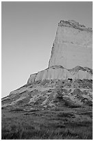 Scotts Bluff at sunrise. Scotts Bluff National Monument. South Dakota, USA ( black and white)