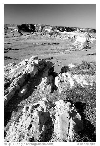 South Bluff seen from Scotts Bluff, early morming. Scotts Bluff National Monument. South Dakota, USA (black and white)