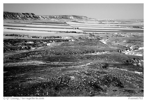Plains seen from Scotts Bluff. Scotts Bluff National Monument. South Dakota, USA (black and white)