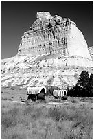 Old wagons and bluff. Scotts Bluff National Monument. South Dakota, USA (black and white)