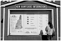 Fall foliage information board. New Hampshire, USA ( black and white)