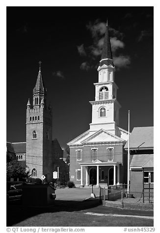 White steepled church and stone church. Concord, New Hampshire, USA (black and white)
