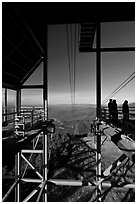 Cannon Mountain aerial tramway station, White Mountain National Forest. New Hampshire, USA ( black and white)