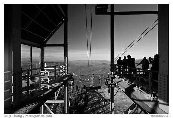 Cannon Mountain aerial tram top station, White Mountain National Forest. New Hampshire, USA (black and white)