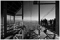 Cannon Mountain aerial tram top station, White Mountain National Forest. New Hampshire, USA ( black and white)