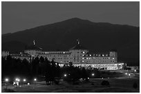 Mount Washington hotel at night, Bretton Woods. New Hampshire, USA ( black and white)
