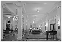 Hotel Lobby, Omni Mount Washington resort, Bretton Woods. New Hampshire, USA (black and white)