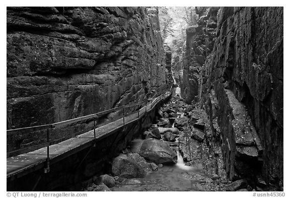 Black And White Picture Photo The Flume Narrow Granite