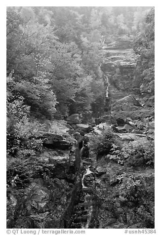 Waterfall, Crawford Notch State Park, White Mountain National Forest. New Hampshire, USA (black and white)