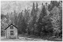 Shack and railway tracks in the fall, White Mountain National Forest. New Hampshire, USA ( black and white)