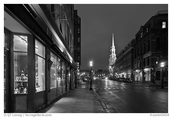 Congress Street and church by night. Portsmouth, New Hampshire, USA (black and white)