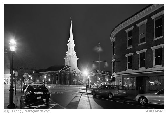 Square and church by night. Portsmouth, New Hampshire, USA (black and white)