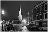 Square and church by night. Portsmouth, New Hampshire, USA ( black and white)