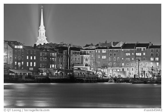 Waterfront and church by night. Portsmouth, New Hampshire, USA (black and white)