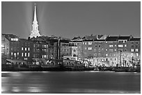 Waterfront and church by night. Portsmouth, New Hampshire, USA ( black and white)