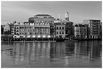 Waterfront buildings and church. Portsmouth, New Hampshire, USA (black and white)