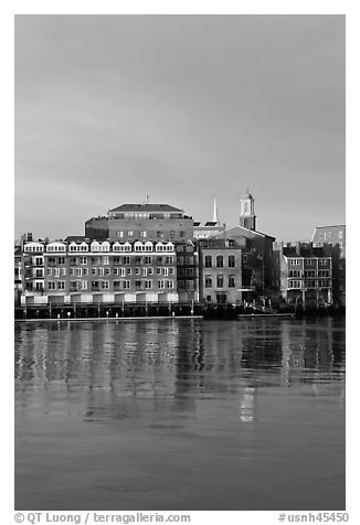 Brick downtown waterfront and church. Portsmouth, New Hampshire, USA (black and white)