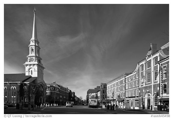 Market Square and church. Portsmouth, New Hampshire, USA (black and white)