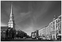 Market Square and church. Portsmouth, New Hampshire, USA ( black and white)