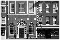 Historic brick facades. Portsmouth, New Hampshire, USA (black and white)