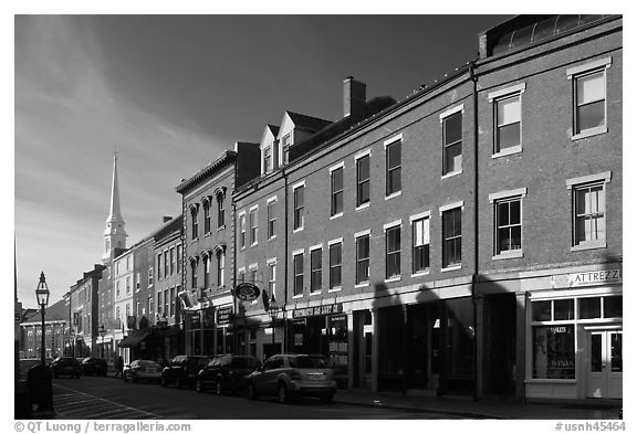 Street and church. Portsmouth, New Hampshire, USA (black and white)