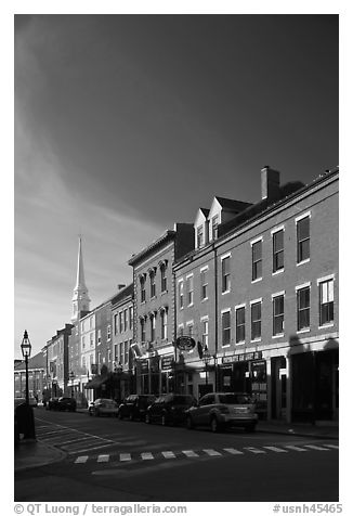 Brick buildings and church. Portsmouth, New Hampshire, USA (black and white)