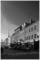 Brick buildings and church. Portsmouth, New Hampshire, USA ( black and white)