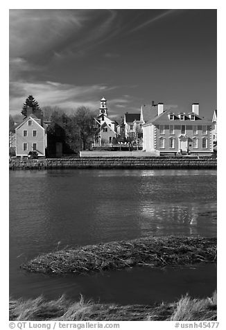 Wentworth-Gardner House and church. Portsmouth, New Hampshire, USA (black and white)