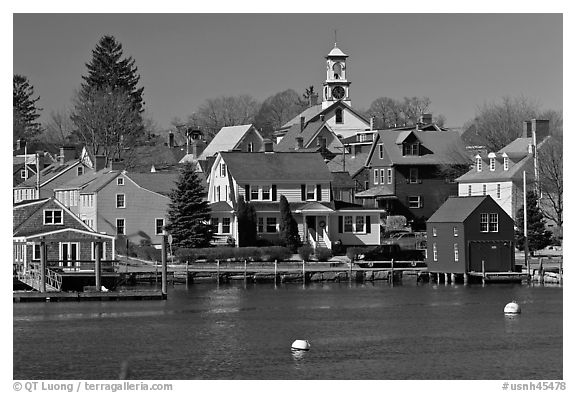 Old wooden houses and church. Portsmouth, New Hampshire, USA (black and white)