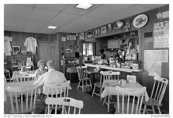 Chowder and Sandwich shot interior. Portsmouth, New Hampshire, USA (black and white)