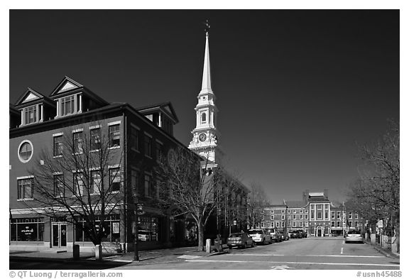 Downtown view with street and church. Portsmouth, New Hampshire, USA (black and white)