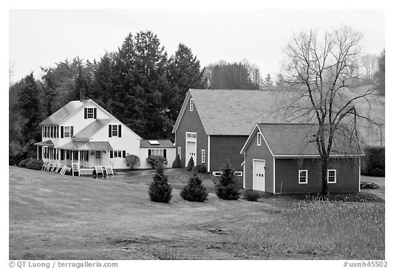 House and barns. Walpole, New Hampshire, USA (black and white)