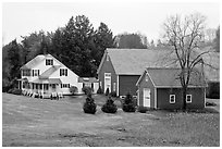 House and barns. Walpole, New Hampshire, USA ( black and white)