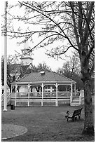 Gazebo and church. Walpole, New Hampshire, USA ( black and white)