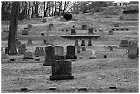 Headstones of different sizes in cemetery. Walpole, New Hampshire, USA ( black and white)