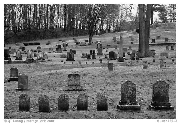 Cemetery. Walpole, New Hampshire, USA (black and white)